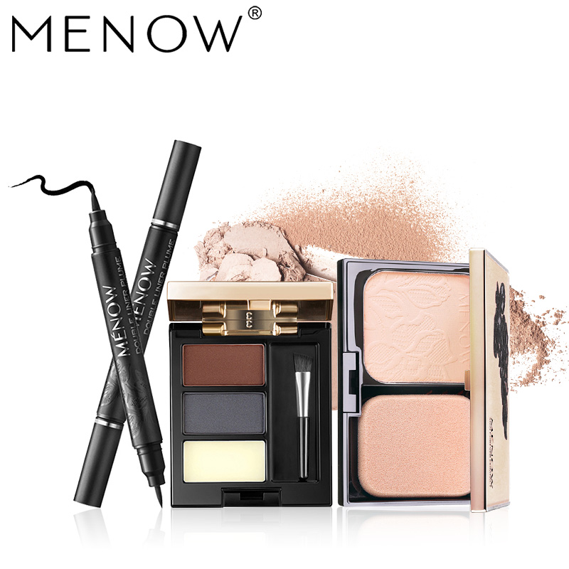 MENOW Brand Make up set Double head use Eyeliner& 3 Color Eyebrow with a brush &Skin whitening Powder Cosmetic kit dropship 5443 cosmetic double eyelid eyeliner sticker set 48 pairs