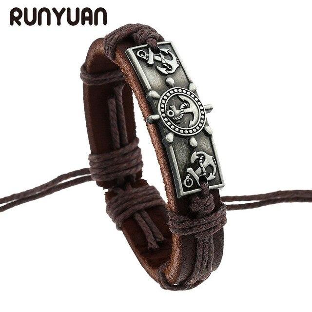 Runyuan Vintage Genuine Pu Leather Bracelet Men Engraved Alloy Pendant Of Anchor Bracelets Ancient Silver Color