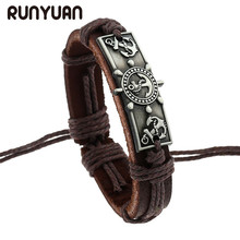 RUNYUAN Vintage Genuine PU Leather Bracelet Men Engraved alloy pendant of anchor Bracelets Ancient silver Color Bangle For Men