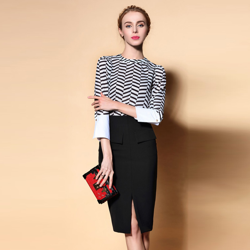 Classic Twinset 2016 New Summer Three Quarter Sleeve Brief Print Shirt Black Slim Split Soft Skirt