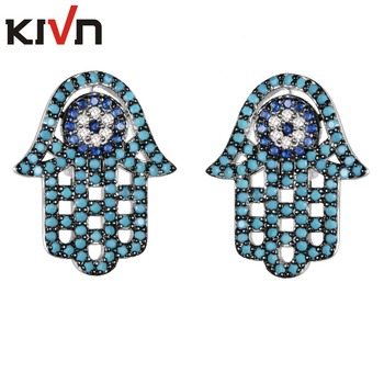 Women Fashion Jewelry Pave CZ Cubic Zirconia Hamsa Hand Turkish Blue Eye Stud Earring for Girl Birthday Gift 10pcs Lot Wholesale