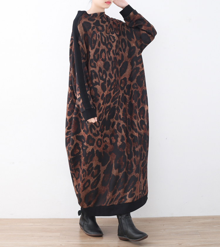 2018 Winter Vintage Print Knitted Dress Female Long Sleeve Turtleneck Batwing Sleeve Loose Big Size Women Dresses Clothes XXL hot sale tartan print batwing winter loose cloak coat poncho cape for women