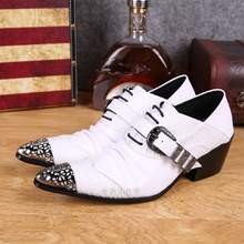 цена на Mens pointed toe dress shoes black white high heels crocodile skin men leather shoes formal wedding shoes male spiked loafers