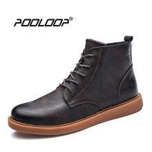 Pooloop роскошные мужские модные ботильоны новые Дизайн Кожаные модельные туфли Обувь Повседневное открытый куница Сапоги и ботинки для девочек ковбойские работы резиновые пинетки