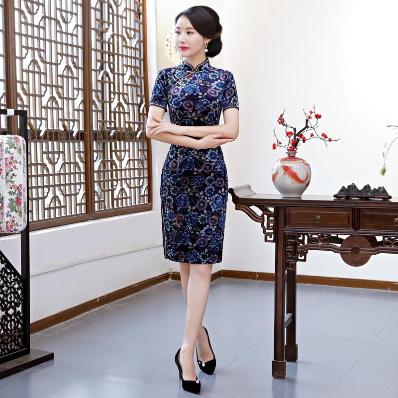 0aa352dc3 ᑐ Big promotion for qipao modern velvet and get free shipping ...