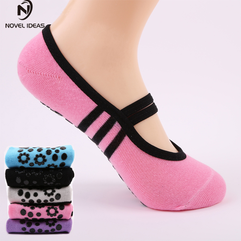 Women Anti Slip Bandage Cotton Sports Yoga Socks Ladies Ventilation Pilates Ballet Socks Dance Sock Slippers 6Colours women yoga dance sports pilates anti slip exercise massage half toe socks