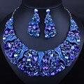 Роскошный Цветочный Дизайн Горный Хрусталь Новобрачных Свадебные Украшения Устанавливает Африканский Индийский Ожерелье и Серьги Женщины Партия Crystal Ювелирные Изделия