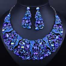 Luxury Flower Design Rhinestone Bridal Wedding Jewelry Sets African Indian Necklace and Earrings Women Party Crystal Jewelry