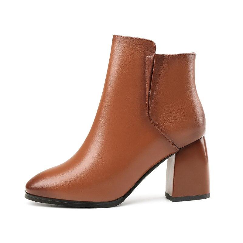 De Para Caliente Smirnova Venta Tacones Del Cuadrados Calidad dark Botas Cuero Genuino Zapatos Negro Dedo 2018 Alta Tobillo Brown Moda Las Vestido Gruesos Pie Mujeres 566wqAXH