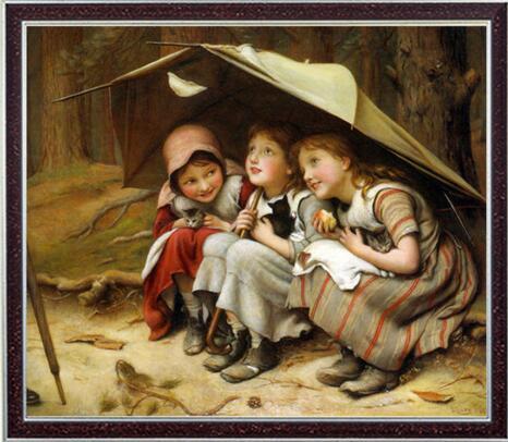 Kits de point de croix 14CT artisanat non imprimé trois jolies filles enfant brodé à la main Art DMC qualité compté ensemble décoration murale