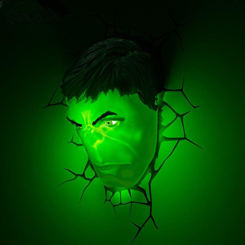 Nouveau créatif les Avengers Hulk tête casque poing gant figures modèle 3D applique Unique lumière LED lampe frontale maison chambre décoration