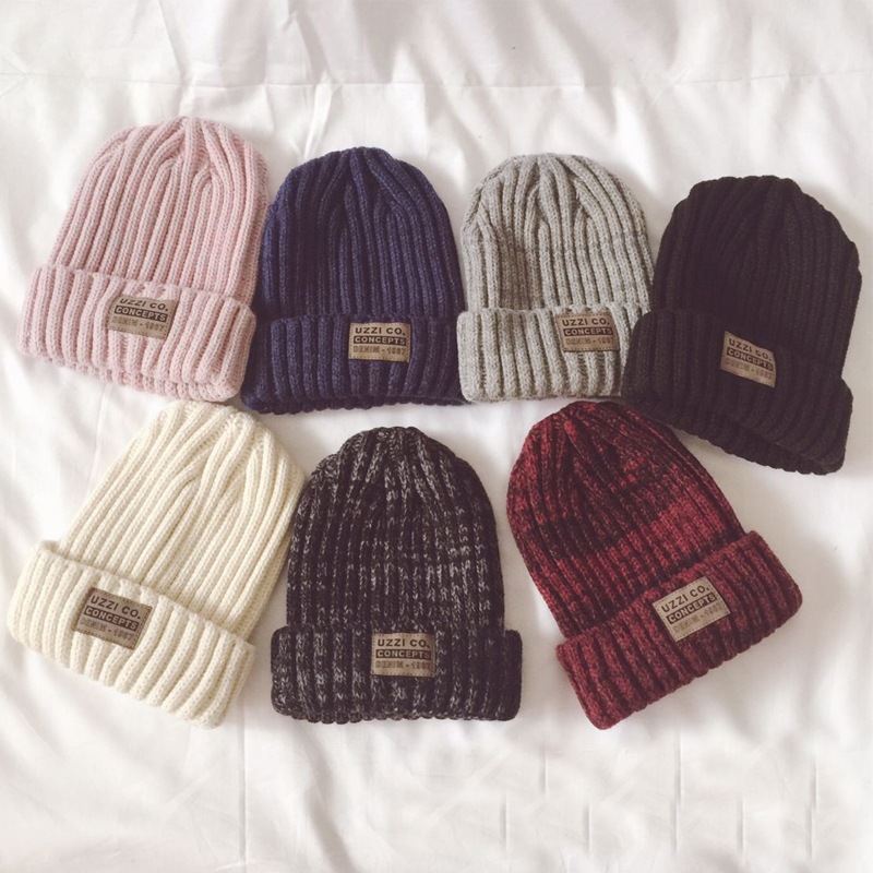 Plain Knitted Cotton   Skullies     Beanies   For Kids Children Embroidery Crown Hat Cap Girls Boys Spring Autumn Outdoor Caps