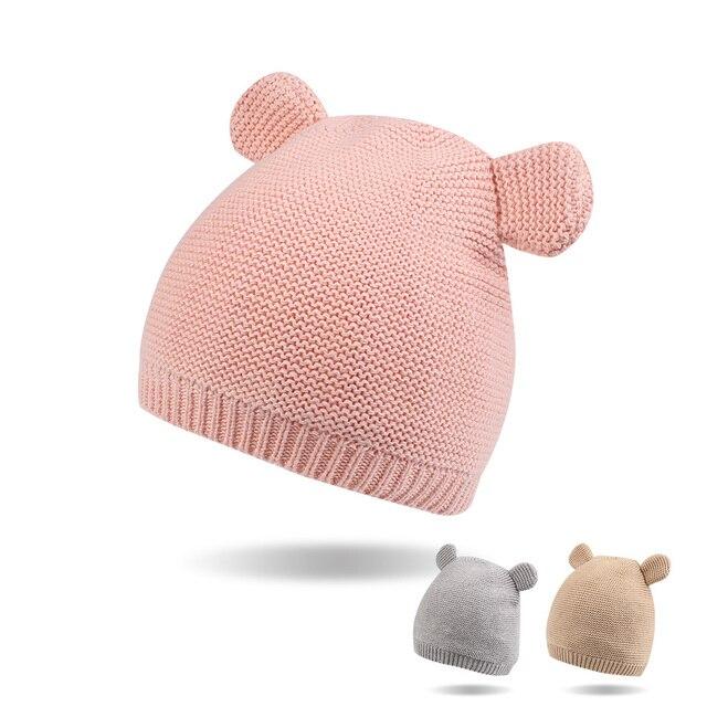 8332ea503 US $7.07 37% OFF|Crochet Cute Baby Hat Bear Ears Newborn Knit Beanie Cotton  Soft Baby Boys Hat Autumn Winter Newborn Girl Hat Baby Boys Clothing -in ...