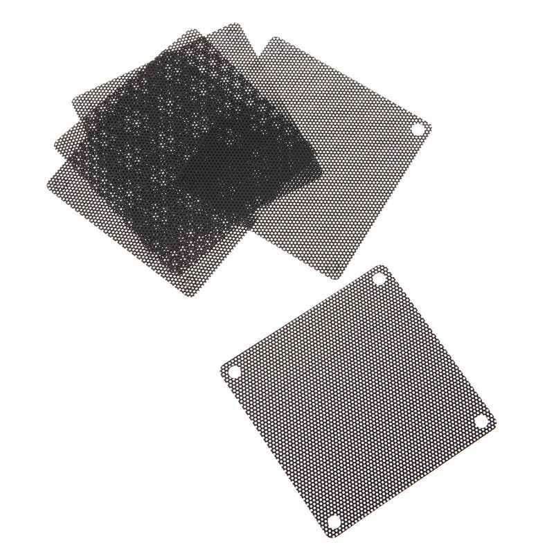 5 PCS PVC พัดลมกรองฝุ่นพีซีกรณีตัดคอมพิวเตอร์ 70 มม. ตาข่ายสีดำ