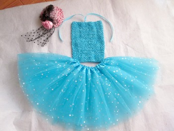 Princess Tutu Set  Baby Girls Crochet top + Glitter Tulle Tutus Outfit Set Children Clothing