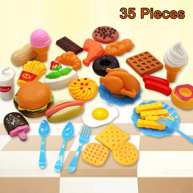 35pcs Kitchen Fun Simulation French Fries Burger Food Plastic Toy Pretend Toys Diversity Sets For Kids