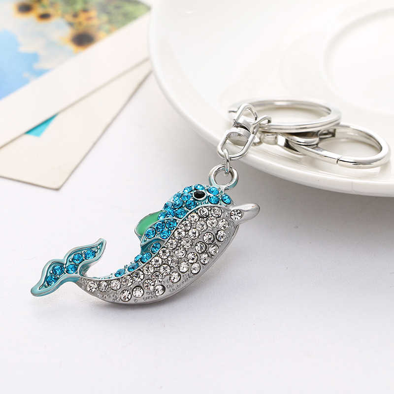JINGLANG Cor Prata Fecho Da Lagosta Chaveiro Cor Cristal Duplo Dolphin 3D Encantos Animais Chaveiros Para Mulheres Bolsa Jóias