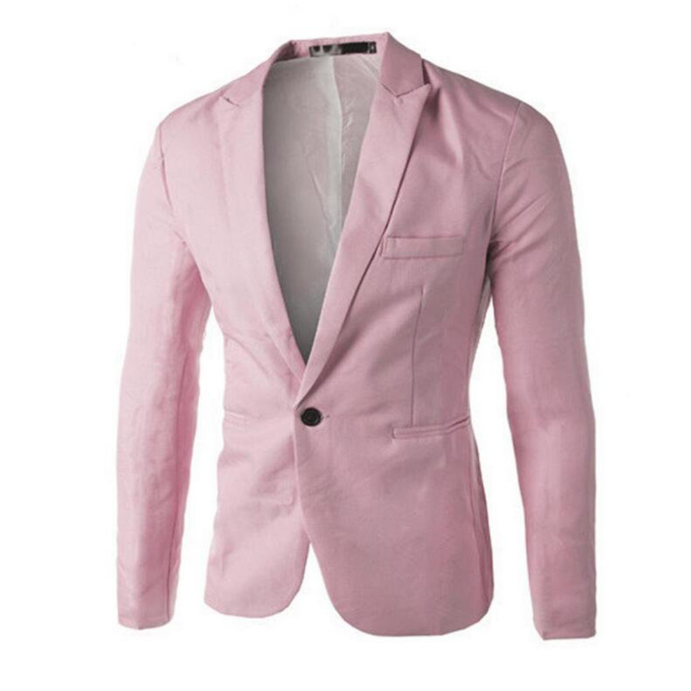 Gresanhevic Mens Coat Slim Fit One Button Suit Blazer Cardigan Outwear Business Jacket ...