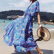 Viven Leigh элегантный синий Летнее Длинное пляжное платье Для женщин Boho Сексуальная Макси Платья для вечеринок Винтаж чешские Павлин печати расклешенное платье