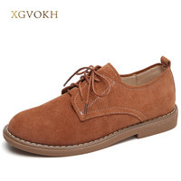 XGVOKH Oxford Shoes Women Round Toe Gradient Spring Autumn Flat Solid Leather Shoes Black Brown Khaki