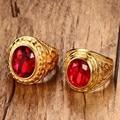 Красный Камень Большие Кольца для Мужчин Ювелирные Изделия Позолоченные Из Нержавеющей Стали Ромб Обручальные Кольца width24MM 21.5 ММ