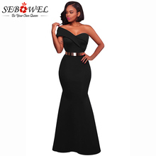 SEBOWEL 2019 Sexy One Shoulder Party Dress Women Black Sleeveless Blackless Maxi Dresses Slim Elegance Vestidos De Fiesta