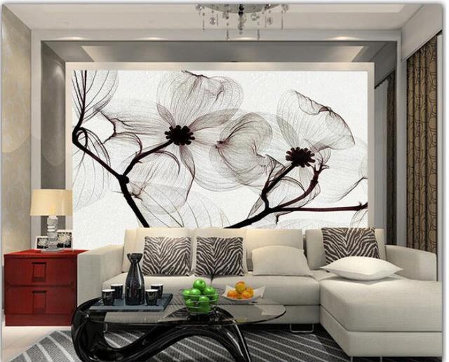 Papier peint 3d personnalisé mural intissé chambre papier autocollant noir  et blanc fleur à la main peintures murales