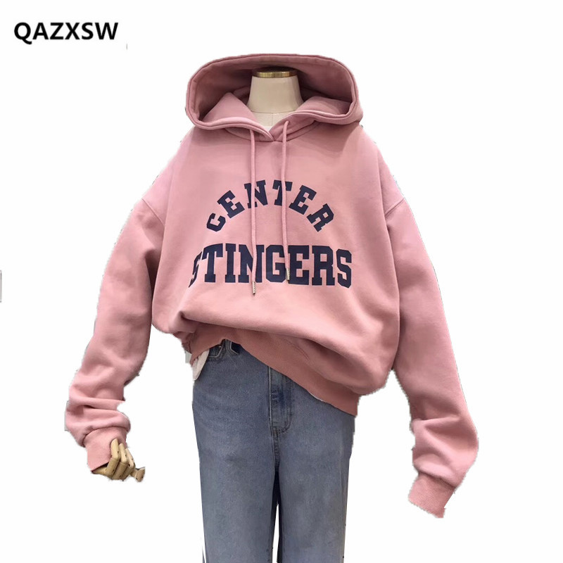 2018 nouveaux Sweatshirts femme coréenne décontracté lettre impression lâche à capuche collège Style Plus cachemire sweat femmes bts SY075