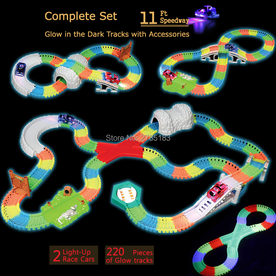 Glow in the Dark race track set Create A Road Bend Flexible Tracks over 220pcs with 8 Different Accessories and 2 Light-Up Cars 1200pcs magic glow in the dark glow race track create a road bend flexible tracks with 5 led light up cars educational toys