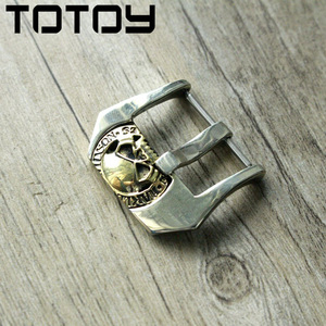 Image 1 - TOTOY White Copper Inlay Brass Buckle, 20MM 22MM 24MM High Quality Leather Strap Buckle,Vintage Buckle,Fast Delivery