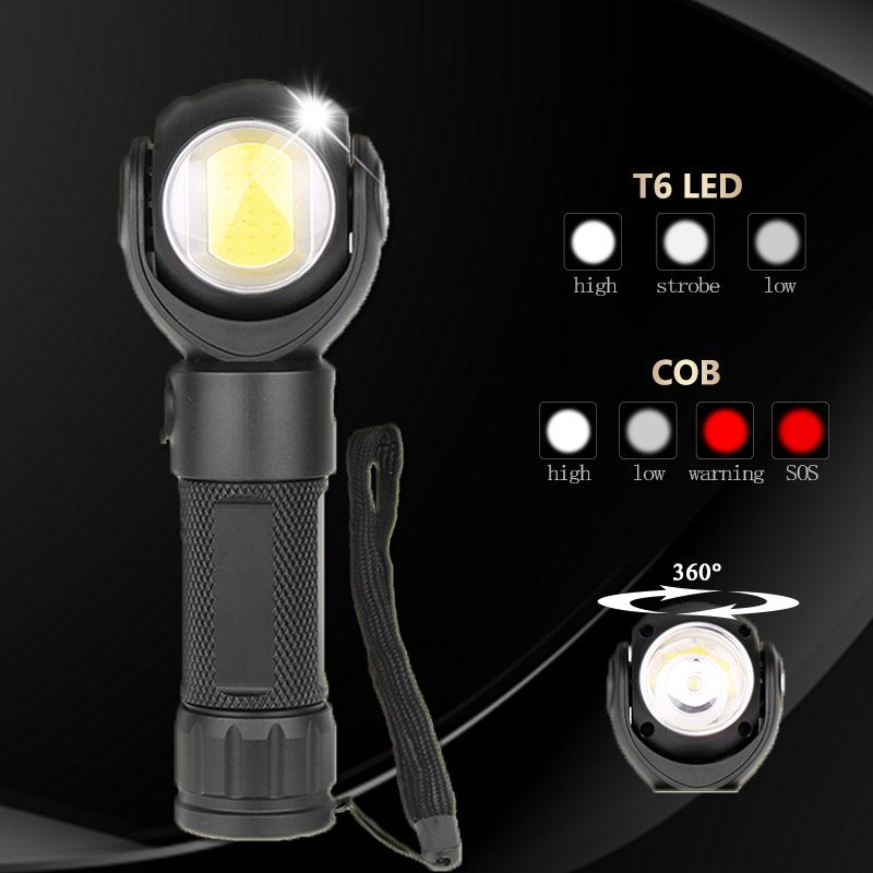 Led Flashlight 360 Degree Rotate T6+COB Lantern Waterproof Magnet LED Torch Outdoor Rechargeable 18650 Or 26650 Battery