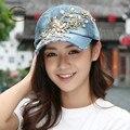 CF002 LGF 2015 настроить Горный Хрусталь Bling Джинсовой бейсболке холст Snapback шапки шляпы для женщин