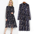 Europe in the spring of 2017 new women's fashion all-match neckline lace long sleeved Chiffon Dress Dress printing