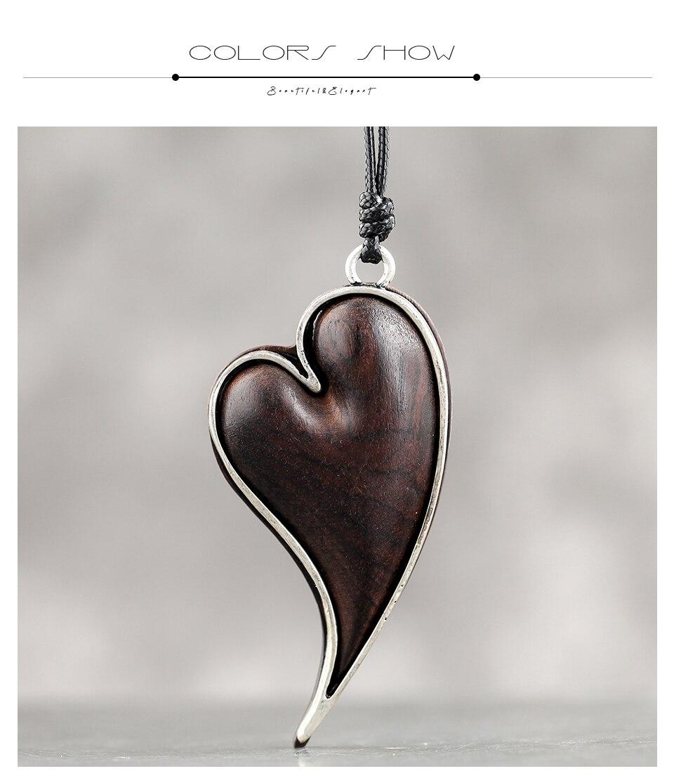 C-Heart Pendant & Necklaces Sandalwood Jewelry Handmade Fashion Necklace