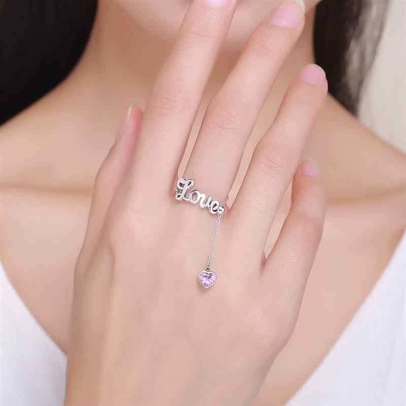 Jiayiqi anel de prata esterlina 925 carta de amor ajustável romântico criativo anéis de dedo para jóias femininas presente do dia dos namorados