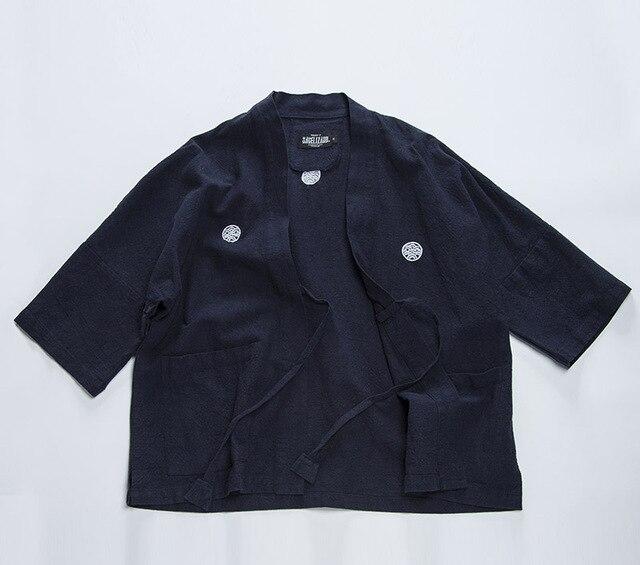 Весна Японский ретро VISVIM хлопок рукав рубашки халат семь Японский кимоно рубашка пальто народном стиле