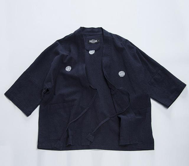 Primavera retro Japonés VISVIM camisa de algodón túnica de manga siete Japonés kimono camisa de abrigo estilo popular