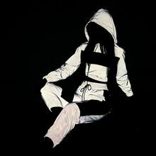 Модные двухсекционный спортивный костюм Женский комплект Светоотражающая толстовка с капюшоном и