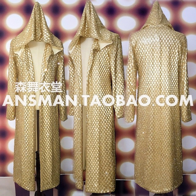 2017 Long Style Gold Glisten Jacket Original Design Male Singer Performance Costume Stage Dance Wear Outerwear Coat Outfit