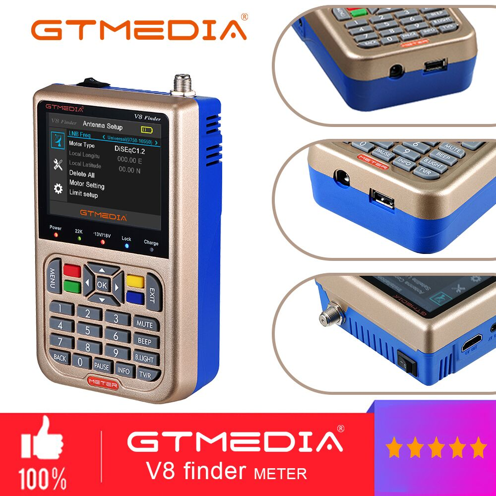 GTmedia V8 Finder Meter DVB S2 XS2 Sat Satellite Finder 3.5 inch LCD Screen HD Finder Meter New Version From GTmedia V8 Finder-in Satellite TV Receiver from Consumer Electronics