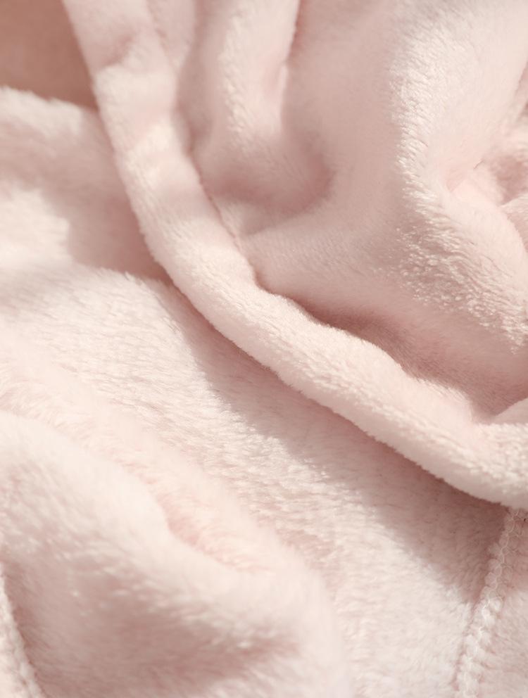 Cute Pink Comfy Blanket Sweatshirt Winter Warm Adults and Children Rabbit Ear Hooded Fleece Blanket Sleepwear Huge Bed Blankets 165