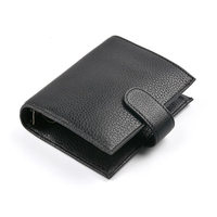 2019 Yiwi Black A7 Genuine Leather Pocket Planner Brass 6 Loose Leaf Binder Notebook Diary With Big Money Pocket