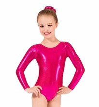 Speerise Kids Girls Long Sleeve Shiny Metallic Spandex Gymnastics Dance Leotard Glod Scoop Neck Bodysuit