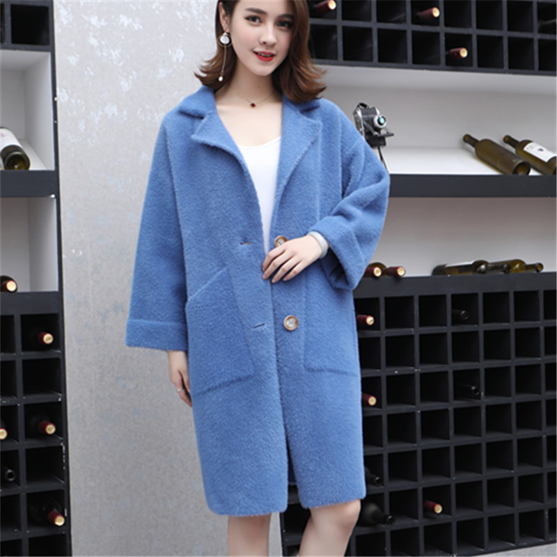 Winter New Women Thickening Long Sweater Velvet Coat Fashion Jacket Turn Down Collar Cardigans Female Warm