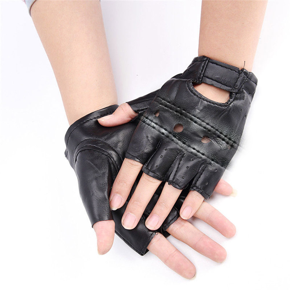 Punk Fuax Leather Mens Black Half Finger Sports Gloves Fingerless Biker Cycling
