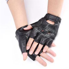 1 Pair Men's PU Leather Gloves Outdoor Motorcycle Hard Knuckle Fingerless Gloves Slip-Resistant Cycling Half Finger Protective oumily outdoor tactic half finger gloves khaki size l pair