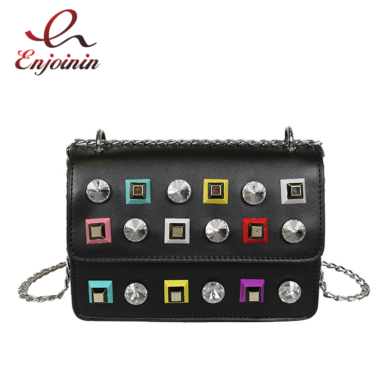 Fashion rivet diamonds candy color pu leather female chain shoulder bag handbag purse ladies crossbody mini messenger bag flap  fun fashion personality disposable leather pu leather chain shoulder bag handbag female crossbody mini messenger bag purse