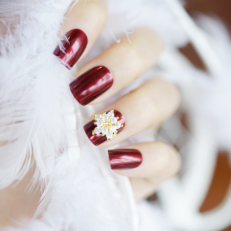 24pcs Wine Red False Nails Full Cover Artificial Fake