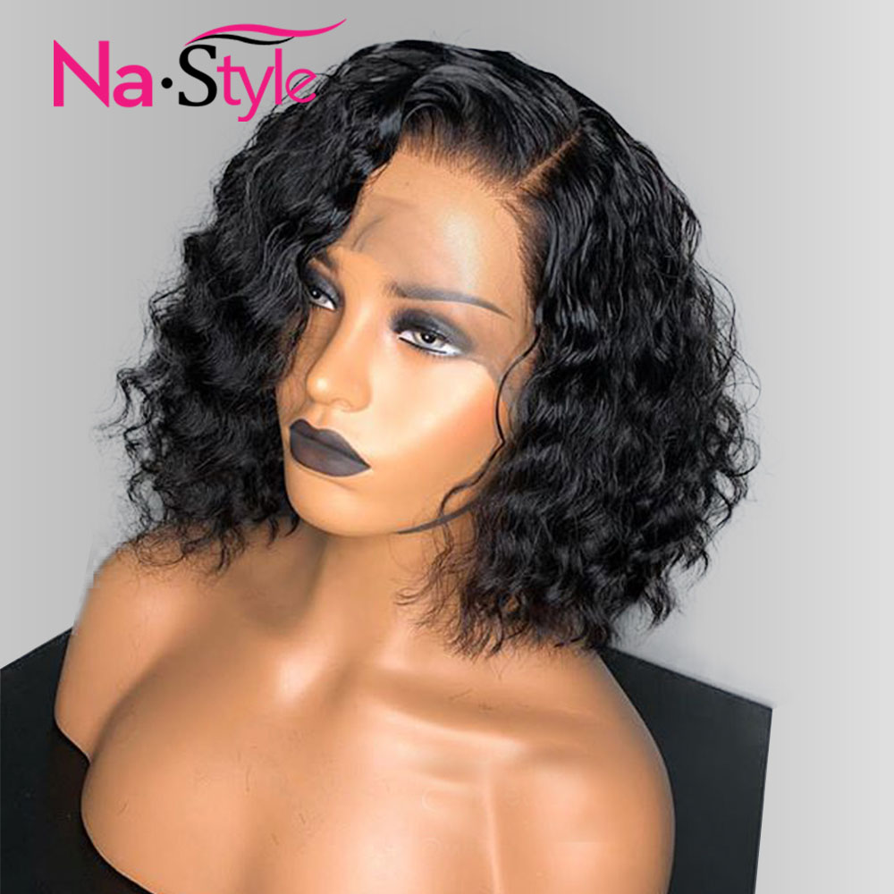 Bob Wig Bob Lace Front Wigs 13x6 150 180 250 Density Short Curly Human Hair Wigs
