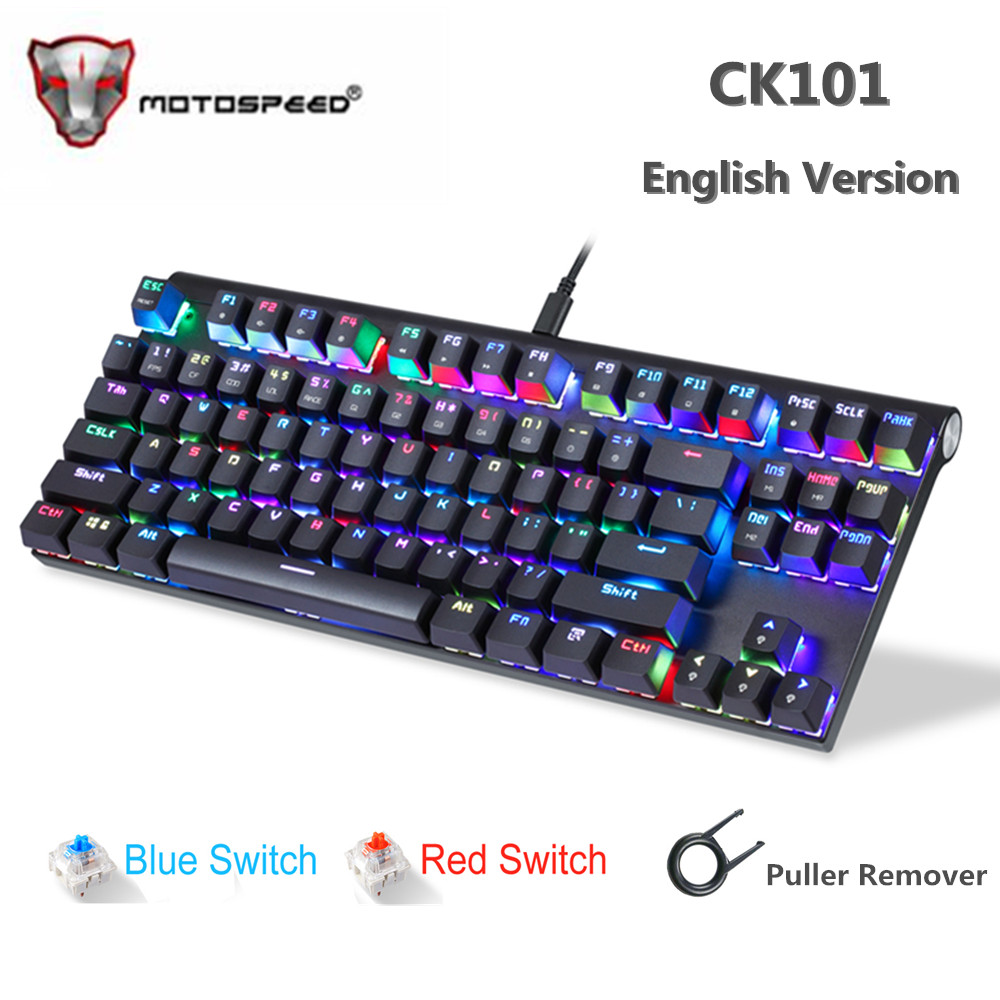 Original Motospeed CK101 Wired Mechanical Keyboard Metal 87 Keys RGB Blue Red Switch Gaming LED Backlit Anti-Ghosting For Gamer